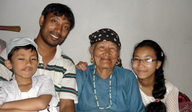 Brother Bishnu and His Two Children with Maan Kumari Gurung