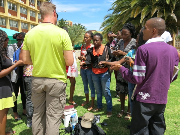 Jesse engages students at the University of Namibia.