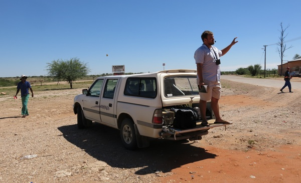 Ricky preaches from the tailgate in Gochas.