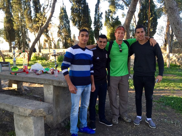 Sharing with Arab Boys Atop Mt. Tabor