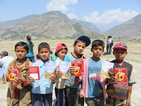 Village children receive the Gospel in Bajhang District.