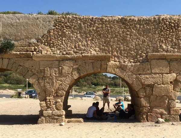 Sharing Messiah with some IDF Tank Commanders under an Old Roman Aqueduct