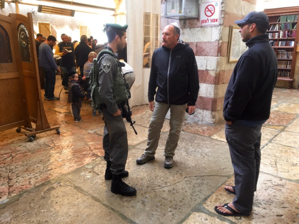 During an earlier visit to the Tomb of the Patriarchs, this IDF soldier was very open to the Gospel.
