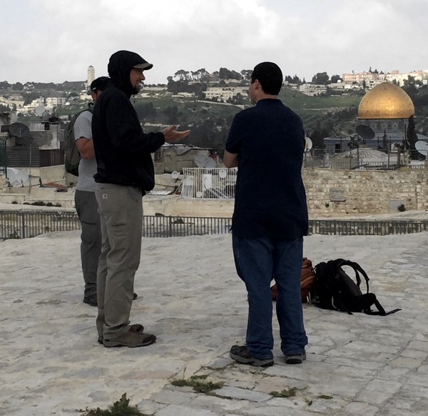 Sharing with Jonathan on the Jerusalem Rooftops
