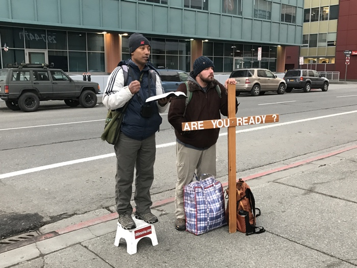Brother Bishnu from Nepal preaches open-air in downtown Anchorage, Alaska.