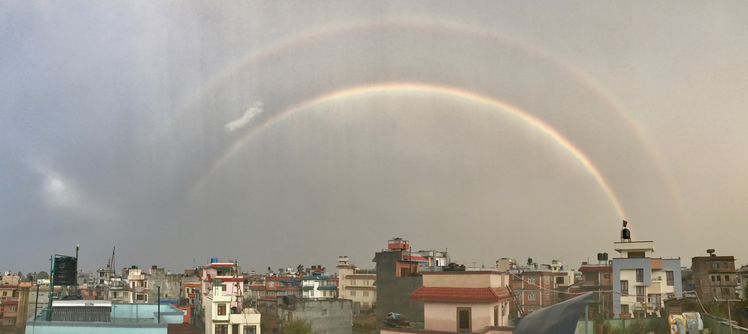 This double rainbow suddenly appeared during a nasty storm over Kathmandu back in March.