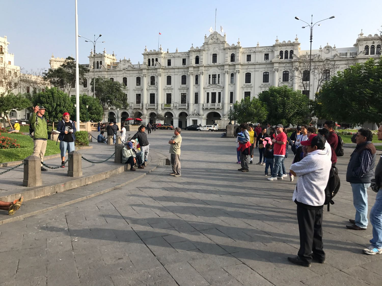 Kyle Stengel preaches his first open-air sermon in Plaza San Martin, a tough place.Again, Giancarlo was a bold translator.