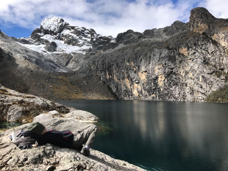 Bethany Napping at 14,600 ft.