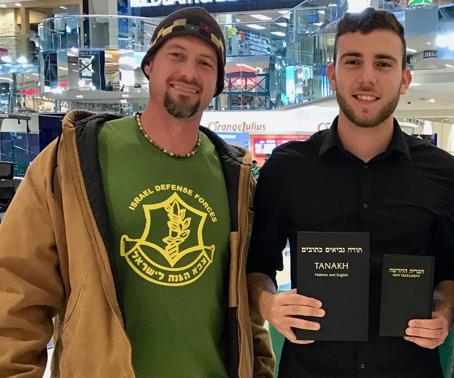 Last Fall, this young Israeli was thrilled to receive a free copy of the Hebrew Bible and a Hebrew New Testament while working at a mall kiosk in Edmonton, Alberta.