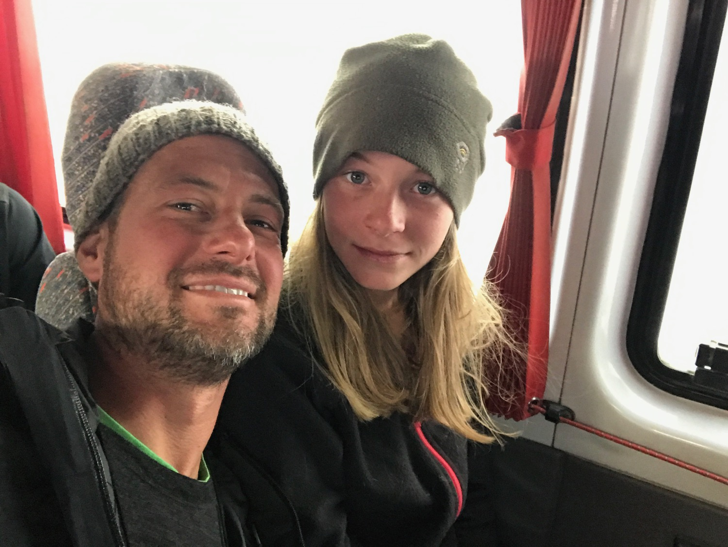 Daddy & Daughter in the Bus after a Long 8-day Trek Together