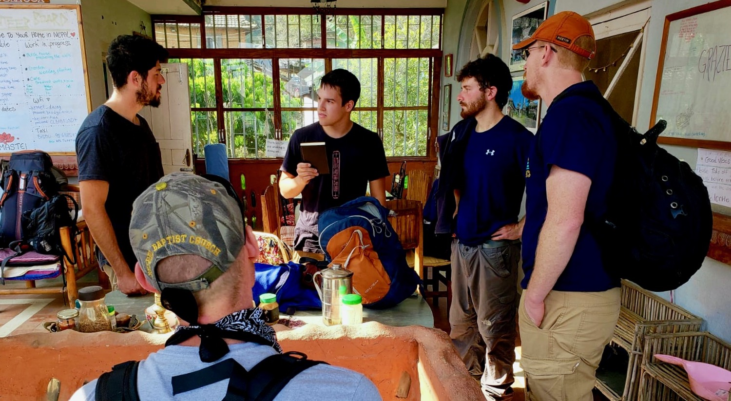 Giving Testimony of Messiah & Sharing a Copy of God's Word with Israeli Volunteers in Nepal