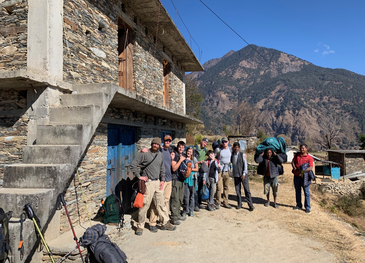 Our Team in Far Western Nepal (the one-room church is behind the second-story left door)