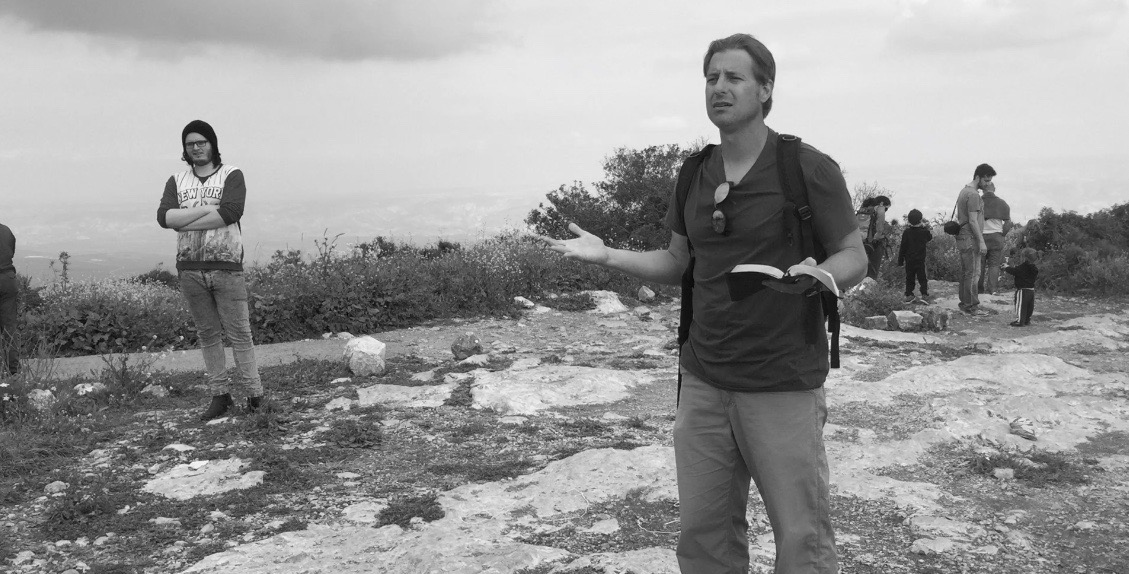 Preaching atop Mt. Gilboa in 2016, the place where King Saul and his sons fell before the Philistines.