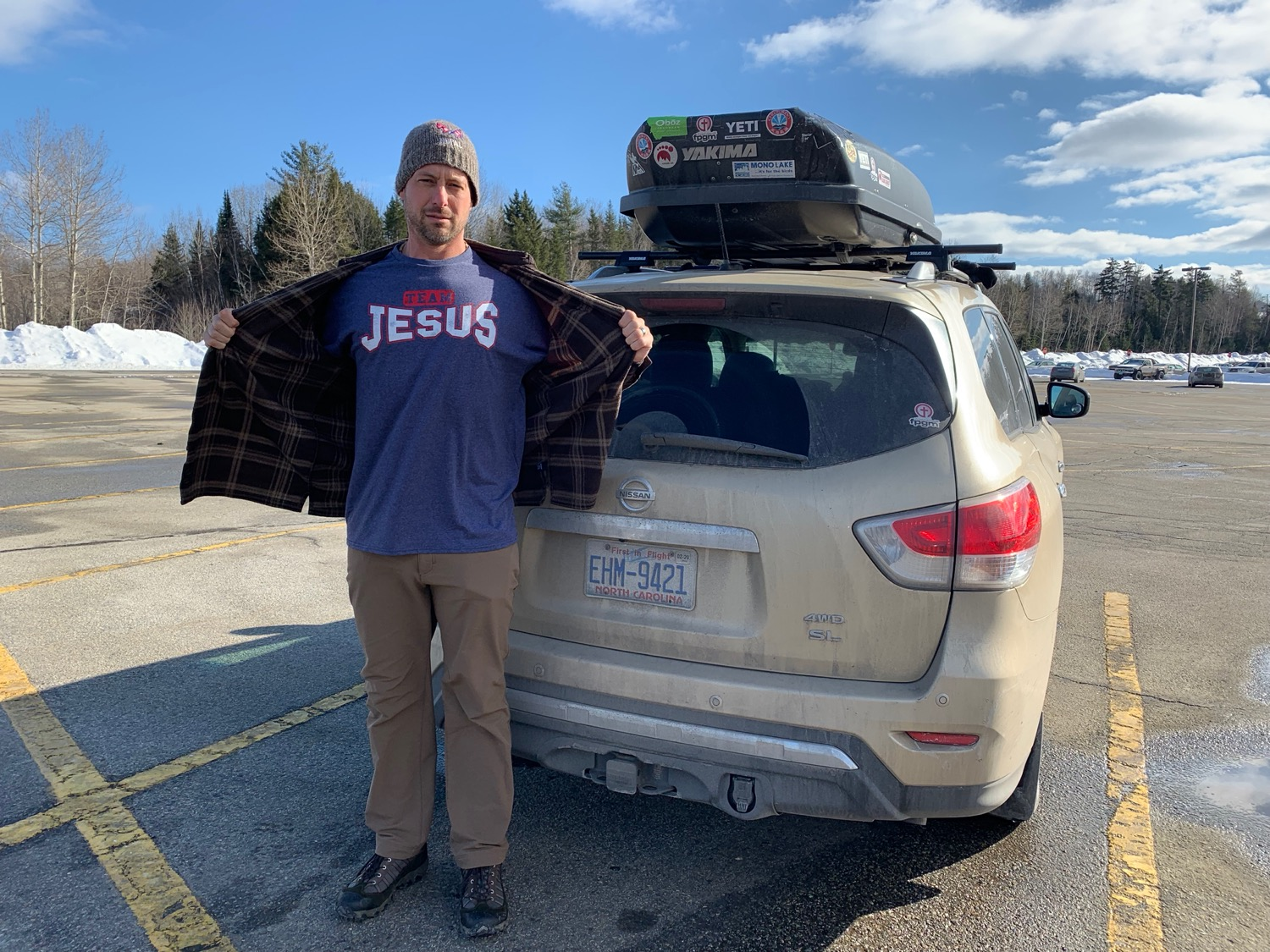 Much was unexpected on the road, including finding this sweet Team Jesus tee in a Vermont Walmart.