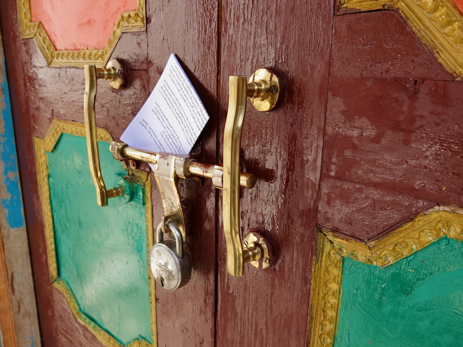 Ladakhi Scripture portions attached to the front door of a remote Buddhist Monastery high up in the Indian Himalaya (2014).
