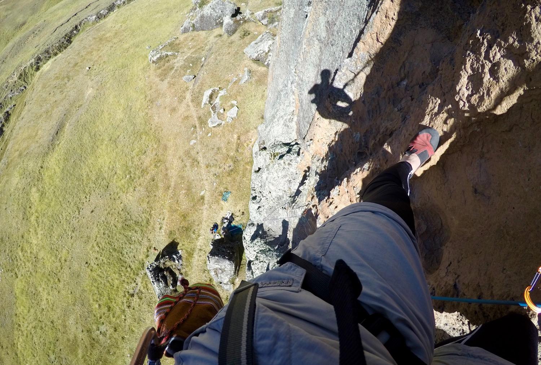 Climbing high in Hatun Machay.