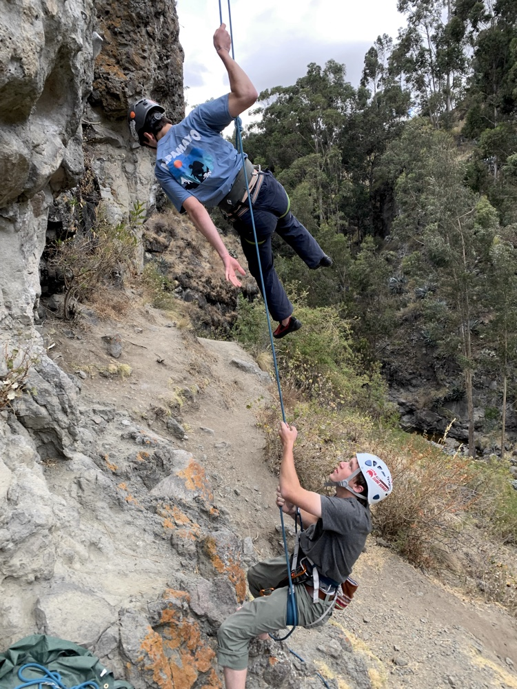 Carter Phillips belays Jimi Mejia on his first crack at rock climbing up in Los Olivos.