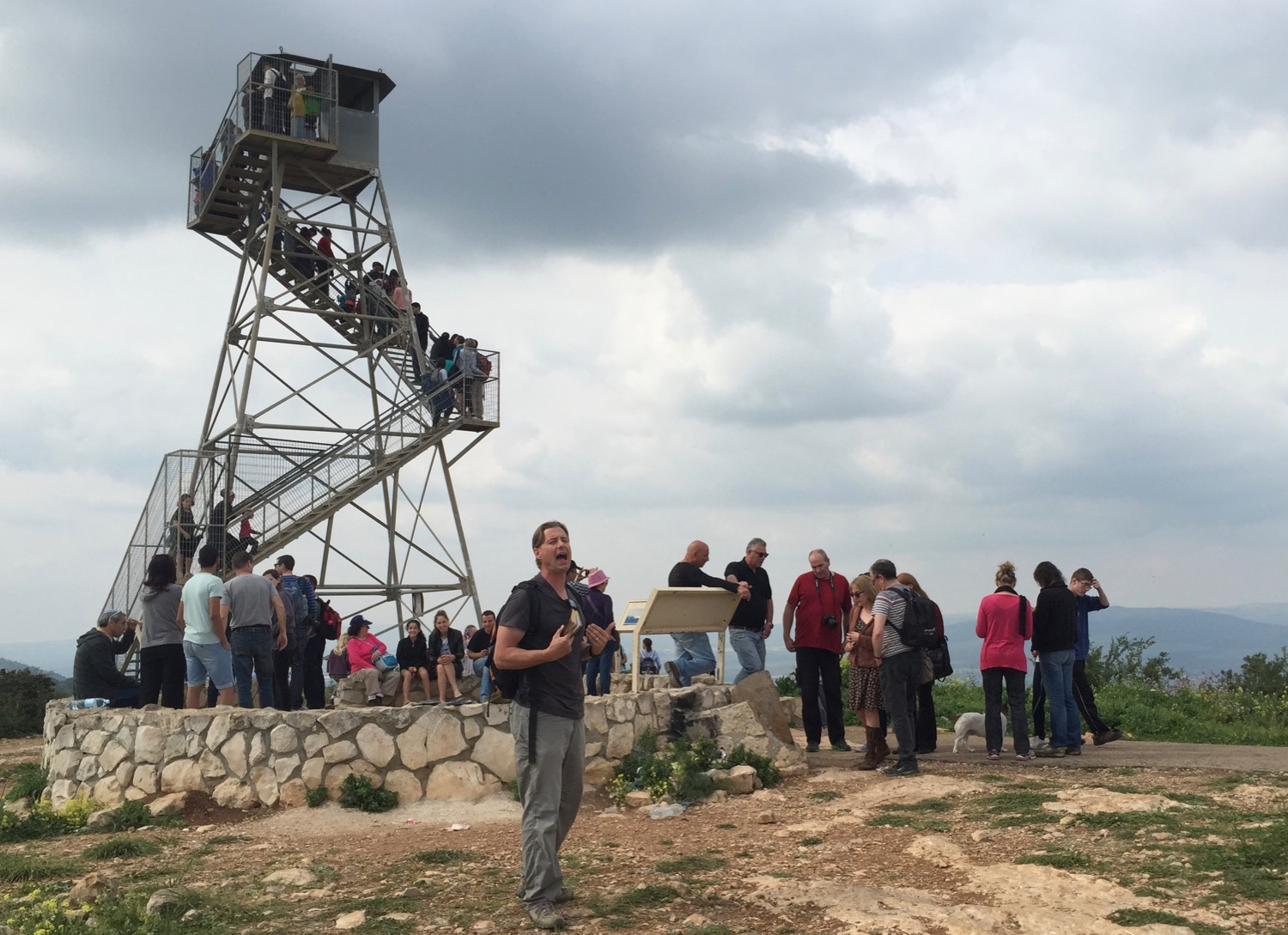 "Election Day in Israel, 2015: I decided to preach ""Thus saith the LORD"" to a crowd atop Mt. Glboa, many of whom had voted for or against Bibi Netanyahu earlier that day."