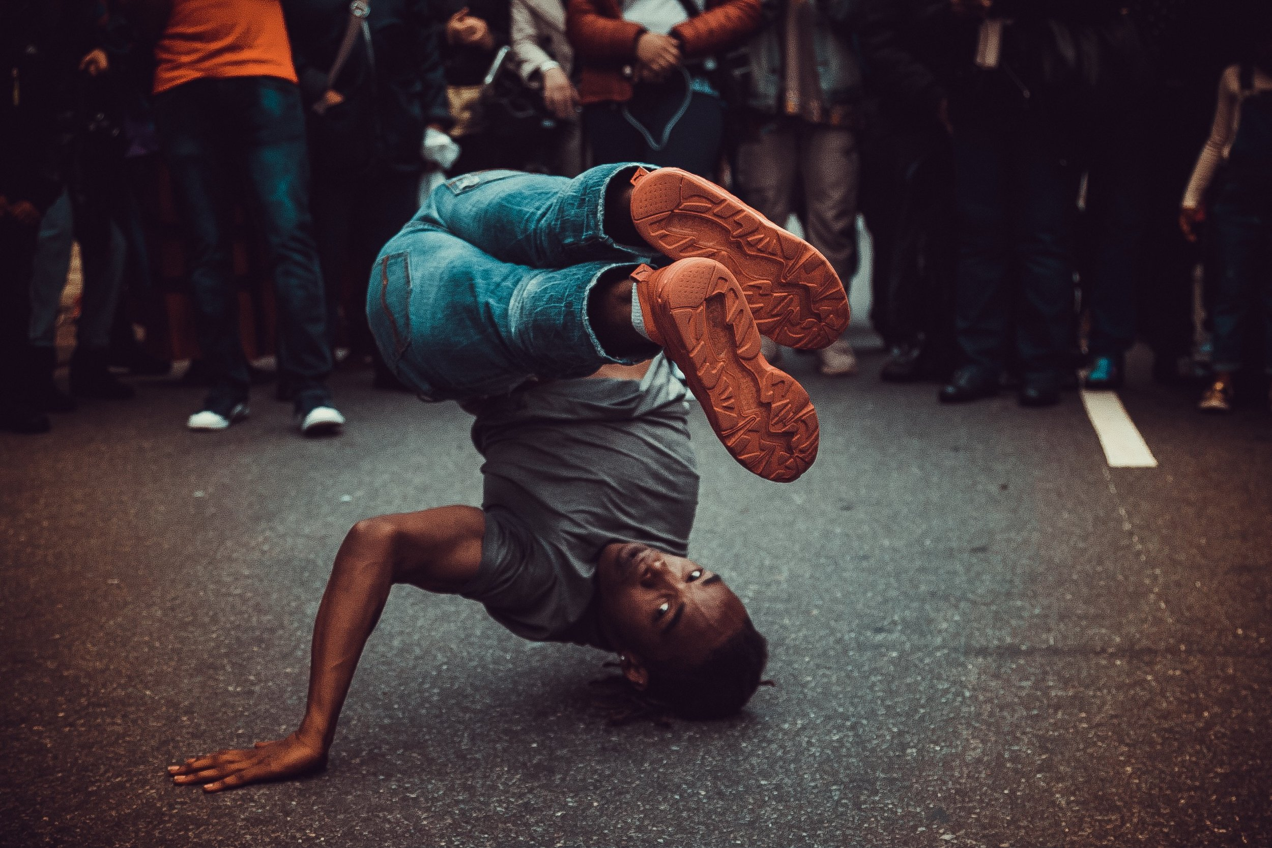 May 29, 2017  Street Performer entertaining a crowd at the Annual B.A.M. Dance Africa Bazaar in Brooklyn, NY.