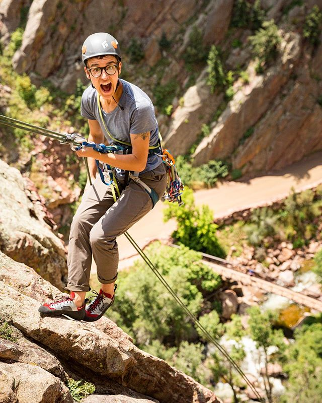"""We are so excited to feature our friend, @lilaleatherman (they/them) for this week's #wasatchcrushwednesday  Not only is Lila fun, silly, and smart as a tack (no, smarter), they are thoughtful and brave in how they speak out about issues of queer identity and representation in climbing. ❤️🧡💛💚💜🖤 """"My name is Lila Leatherman (they/them), and I'm a nonbinary trans person stoked on science, climbing, and advocacy. I am passionate about bringing baked goods on the trail, exploring the Wasatch on ropes and on foot, and increasing queer representation in outdoor recreation.  In the climbing community, I find that people often disengage from issues around identity. I see people's advocacy start and end with Leave No Trace. I hear people say, """"I'll climb with anyone, I don't care what their identity is!"""" I see routes continue to be established with names that are misogynistic, racist, and homophobic. I see few people at the climbing gym who look like me.  Climbing is an immense source of pleasure for me (shoutout @adriennemareebrown), but I often find the community frustrating for these reasons. I hope to be a part of— and help build— a climbing community where we all acknowledge the advantages that we have been given, educate ourselves and others about how these advantages manifest in our lives, and actively support people with identities different from our own. Let's build and learn together."""" 💎💎💎💎💎💎💎 Photo cred:  on rappel = @ladylockoff summit = @kestreloncreosote"""