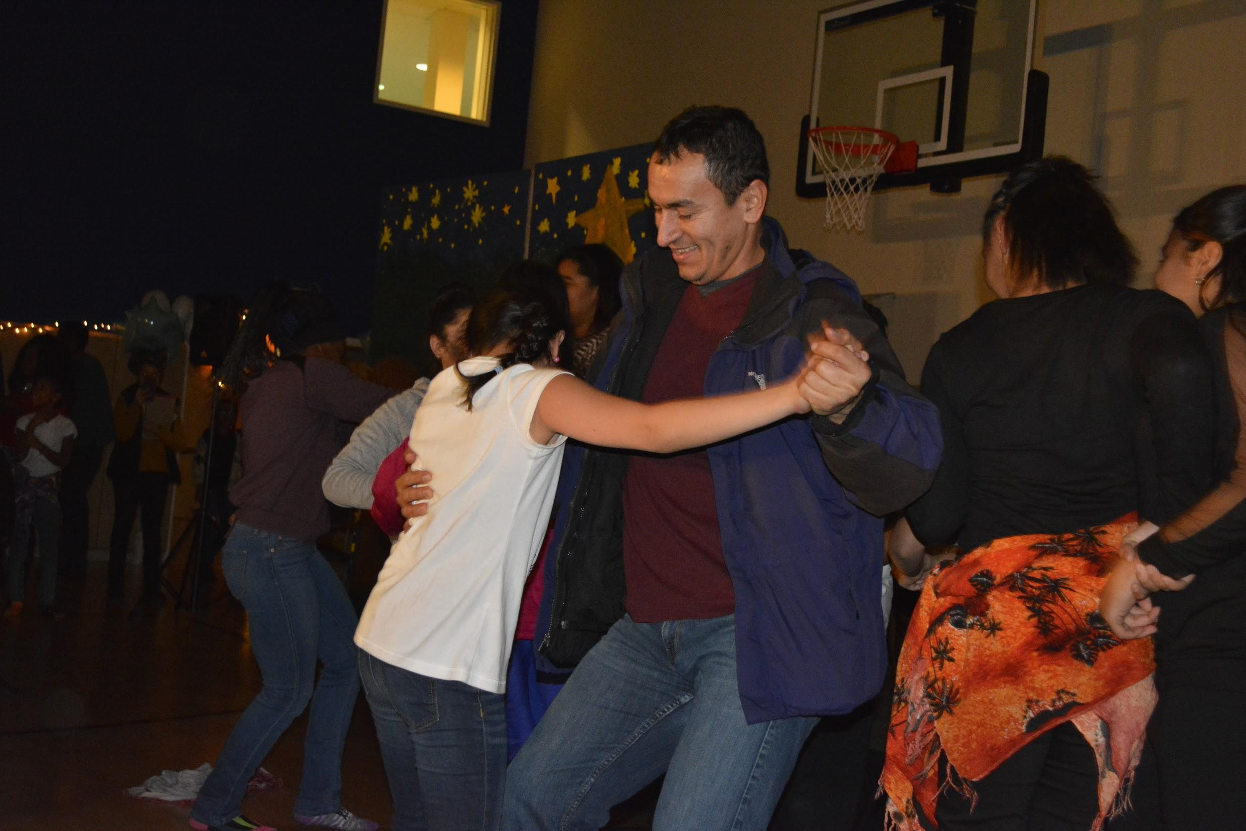 Isabella dancing with her father during the Dance elective