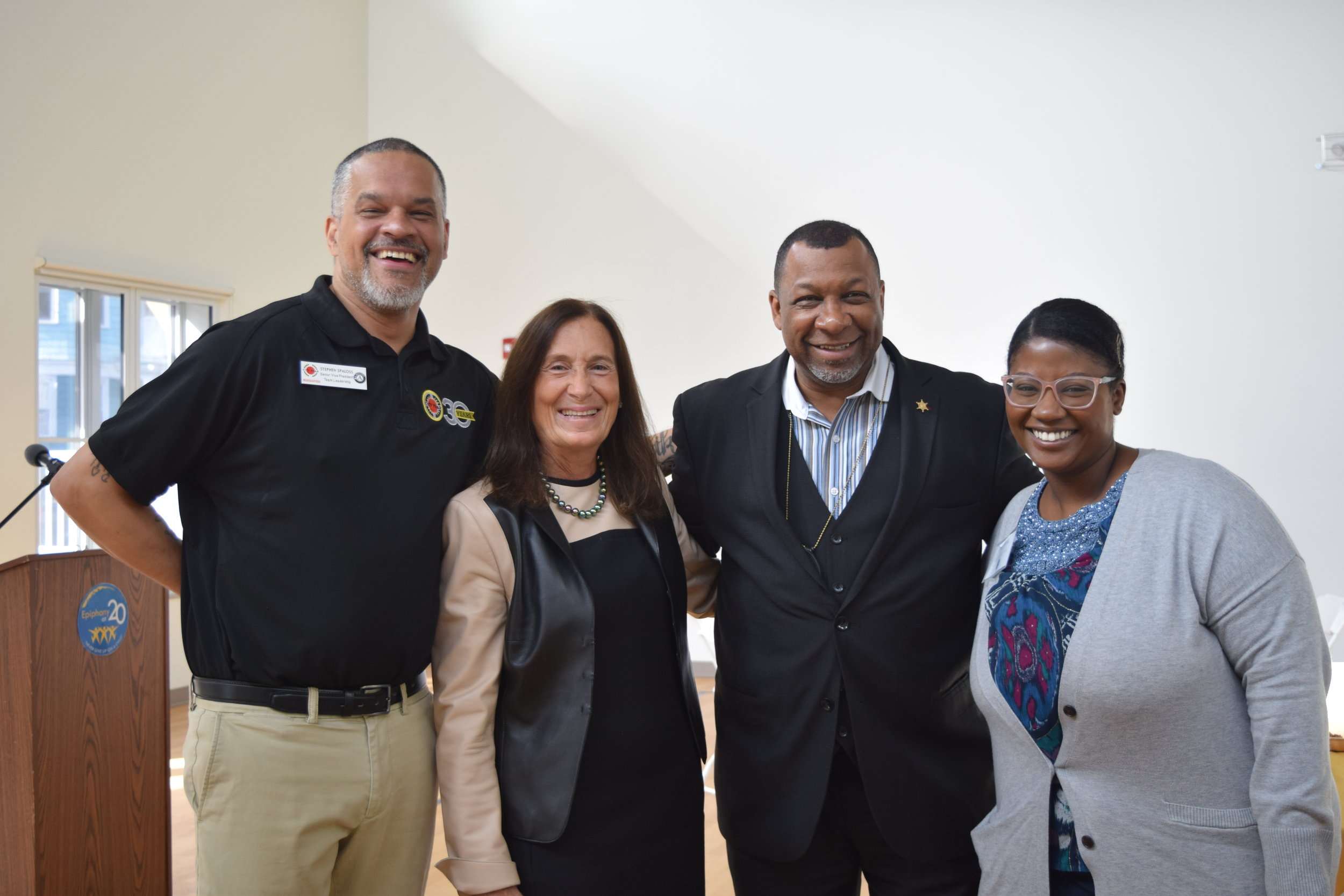 Stephen Spaloss (Senior Vice President of the Team Leadership program at City Year), Deborah Goldberg (Treasurer of Massachusetts), Steven W. Tompkins (Sheriff of Suffolk County), and Erika Forrest (Director of Graduate Support at Epiphany)