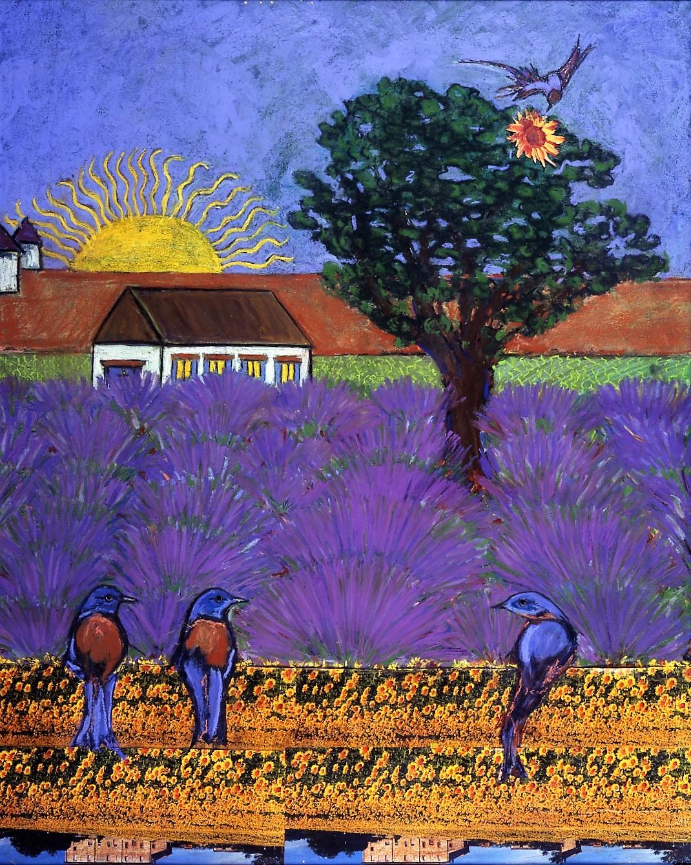 Bluebirds in Lavender