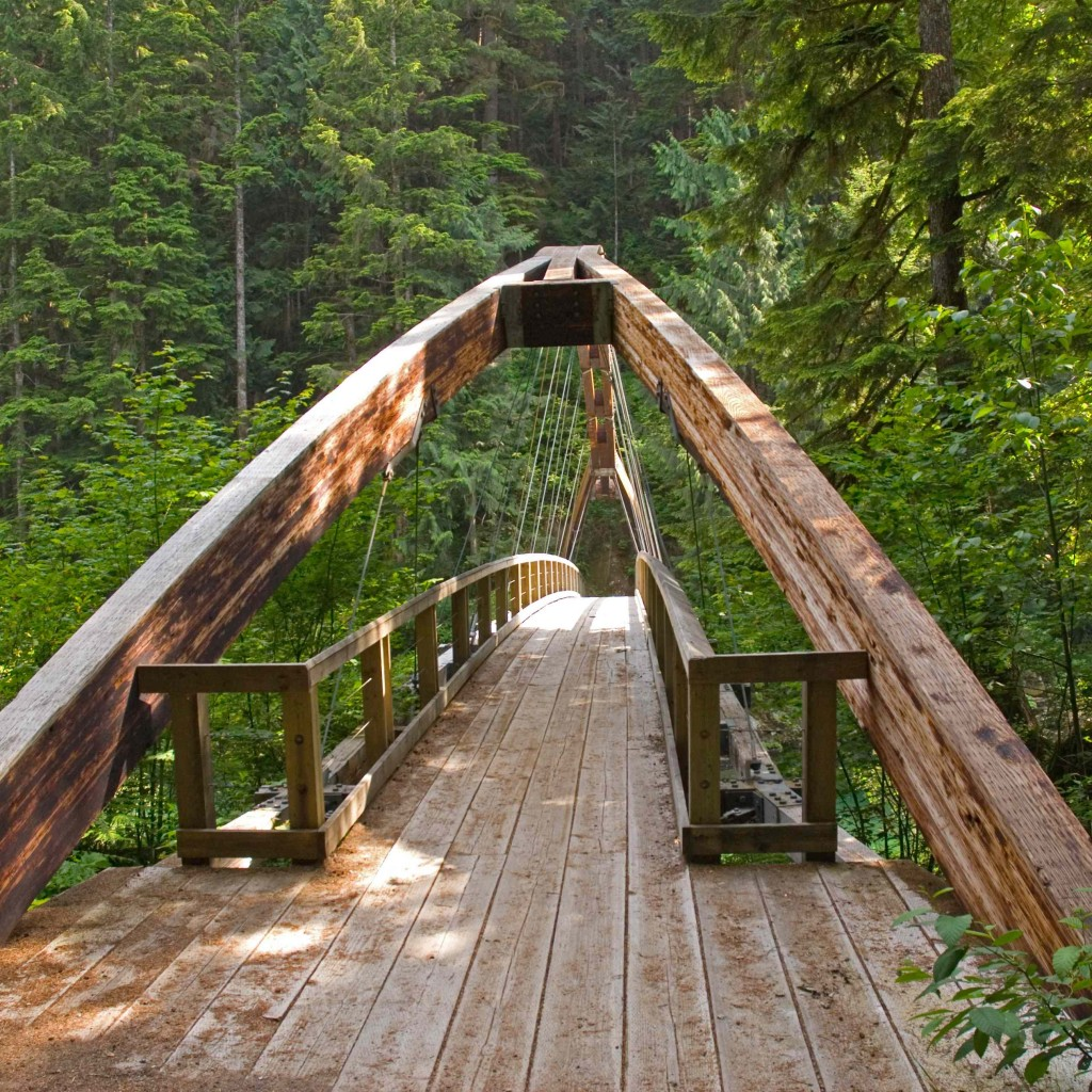 The bridge over the Middle Fork Snoqualmie Trail beckons us.