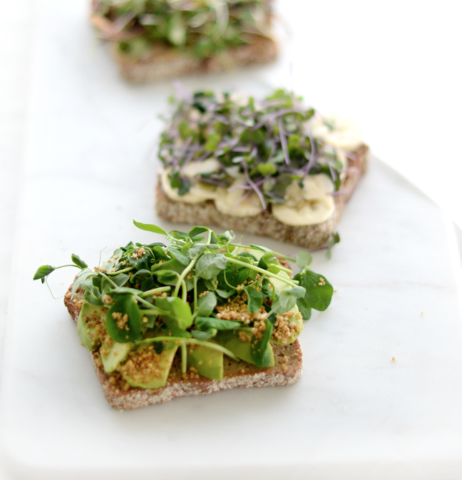 Toasts - Our toasts are packed with whole super ingredients on gluten free bread. Each of these are made fresh to order.