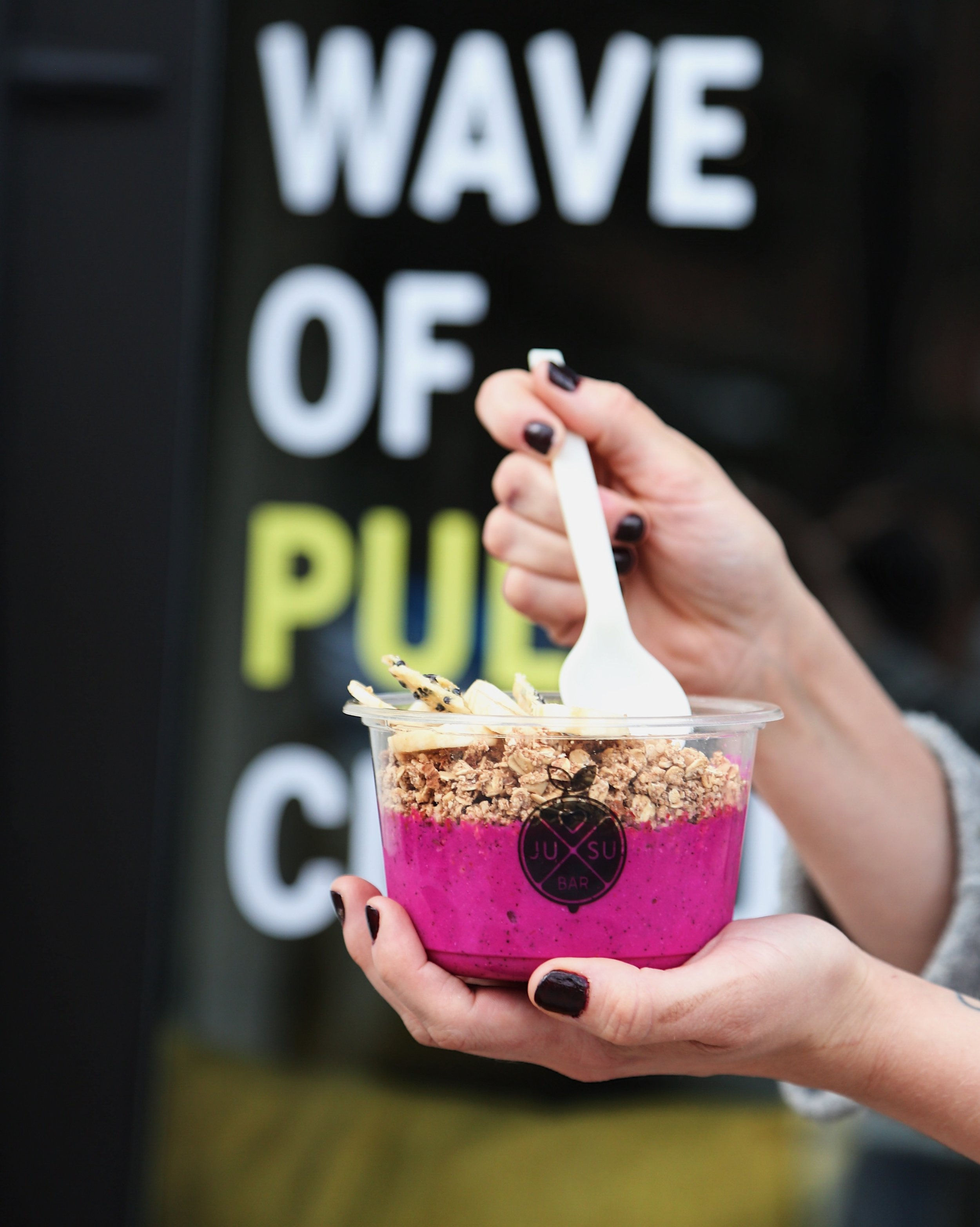 Smoothie Bowls - High in fibre and perfect for those on the go. Each bowl is topped with Jusu's gluten-free almond granola(Pink Dragon Bowl Pictured)