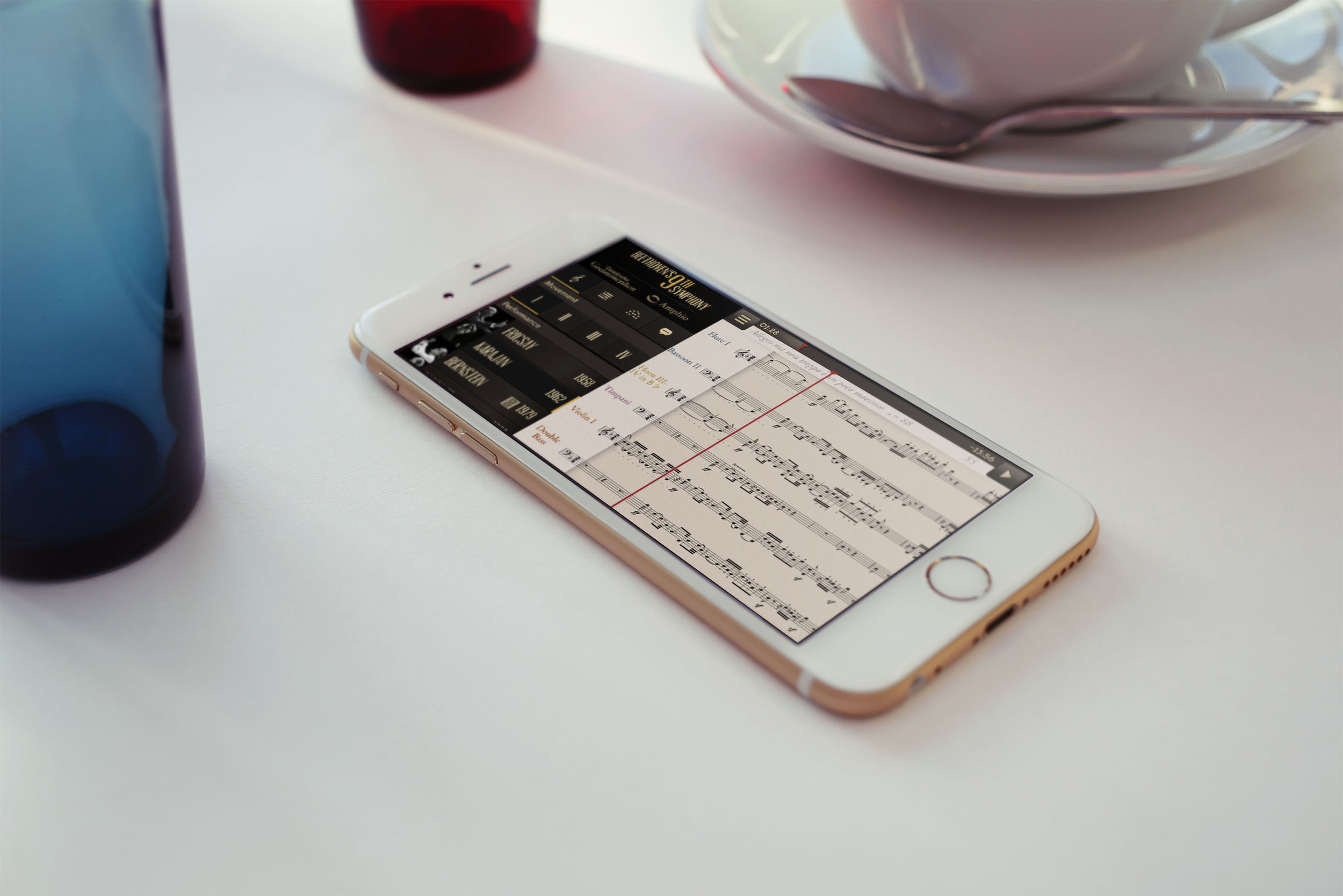 Beethoven's 9th Symphony  – an app for iPhone and iPad, including score syncing and on-the-fly performance switching