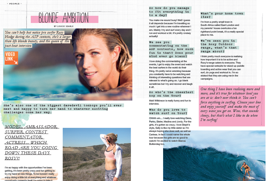 Surf Girl Magazine - Page Layout and Design