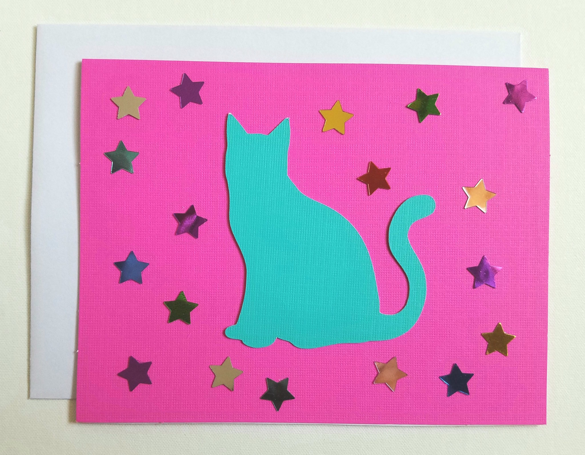 Pink_Turquoise Cat Silhouette Card