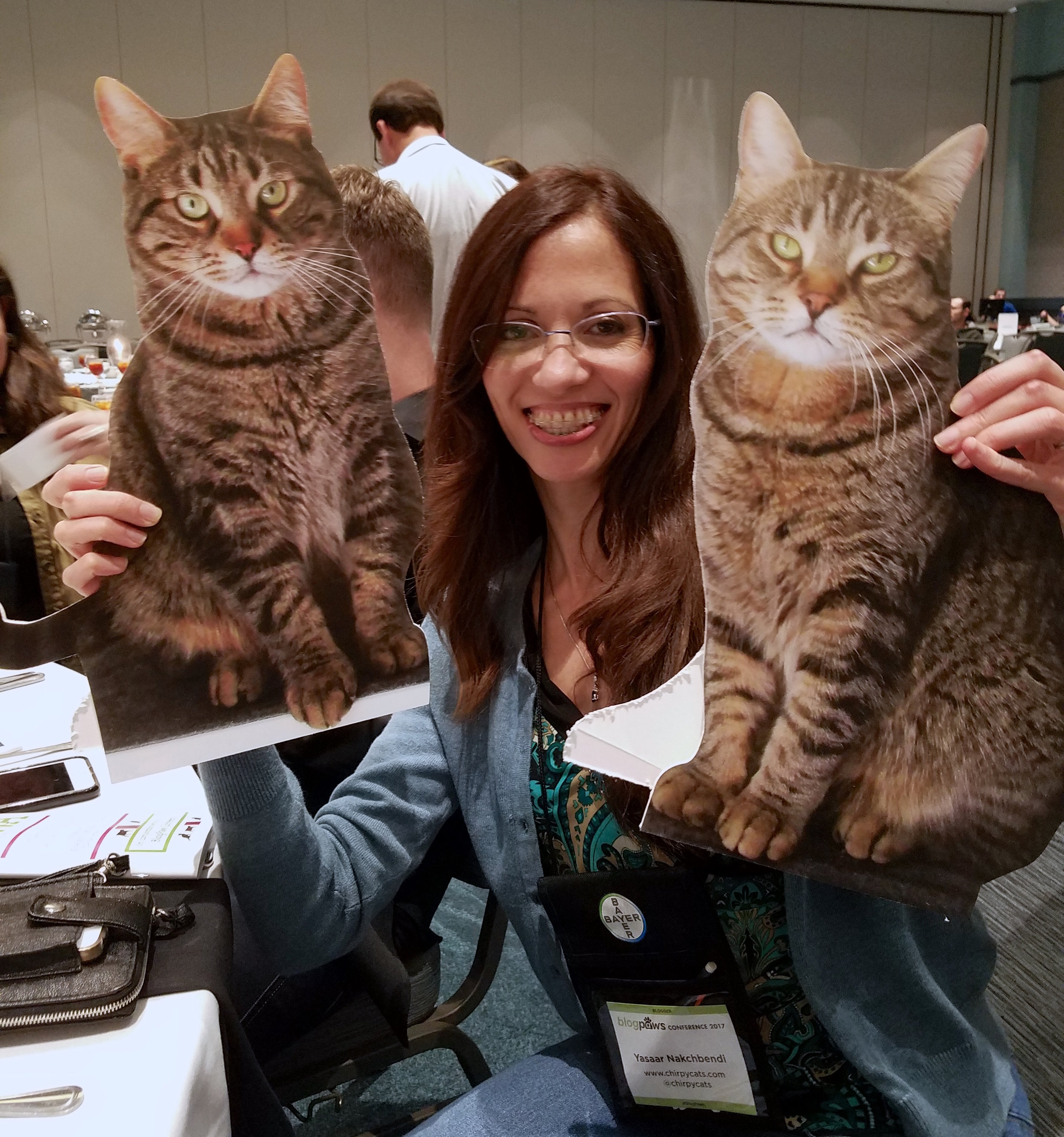 New friend Yasaar of ChirpyCats.com with her flat cats - 2 of 10 fur babies!