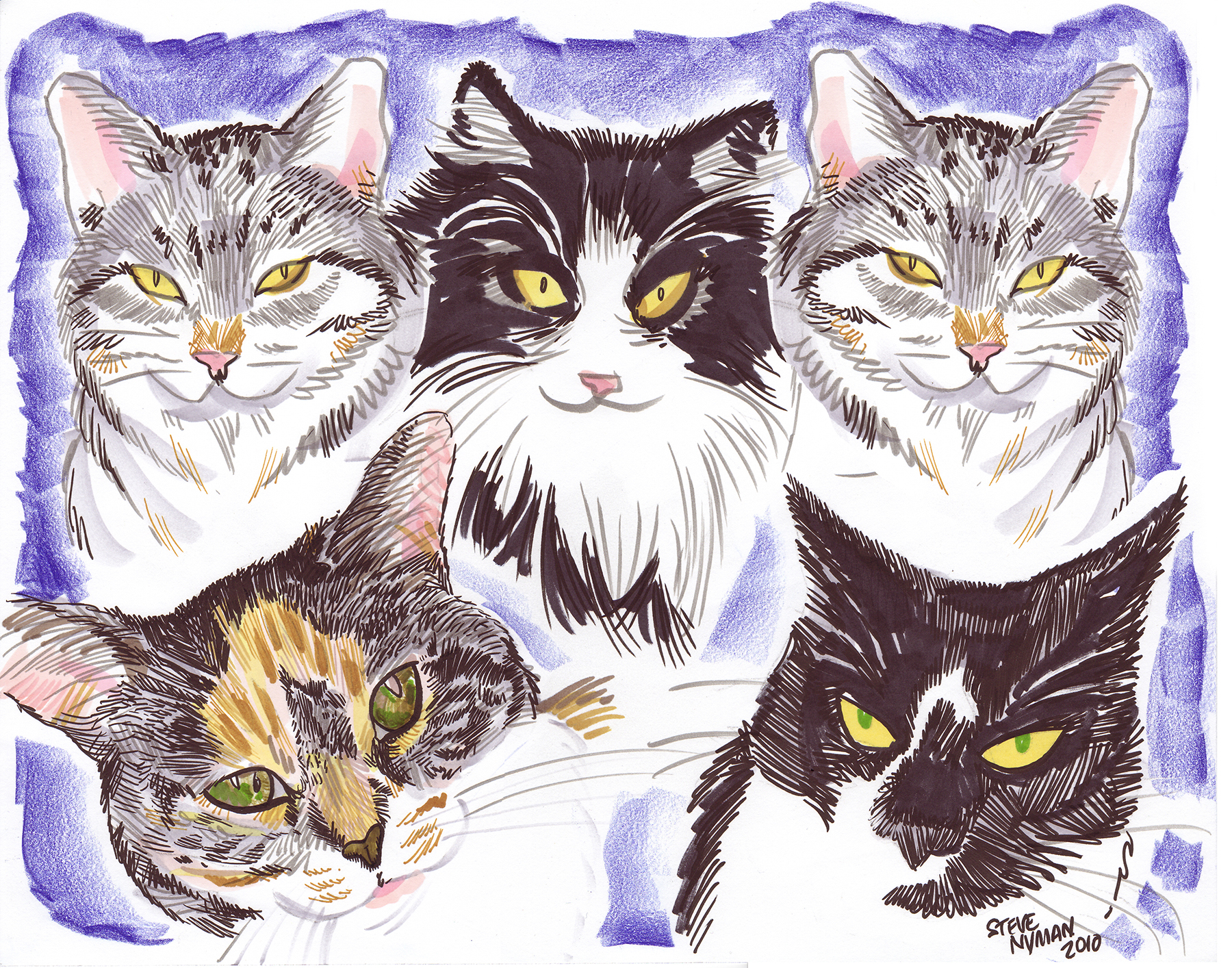 Cat caricature by Steve Nyman /Image Courtesy: Garden State Cat Club