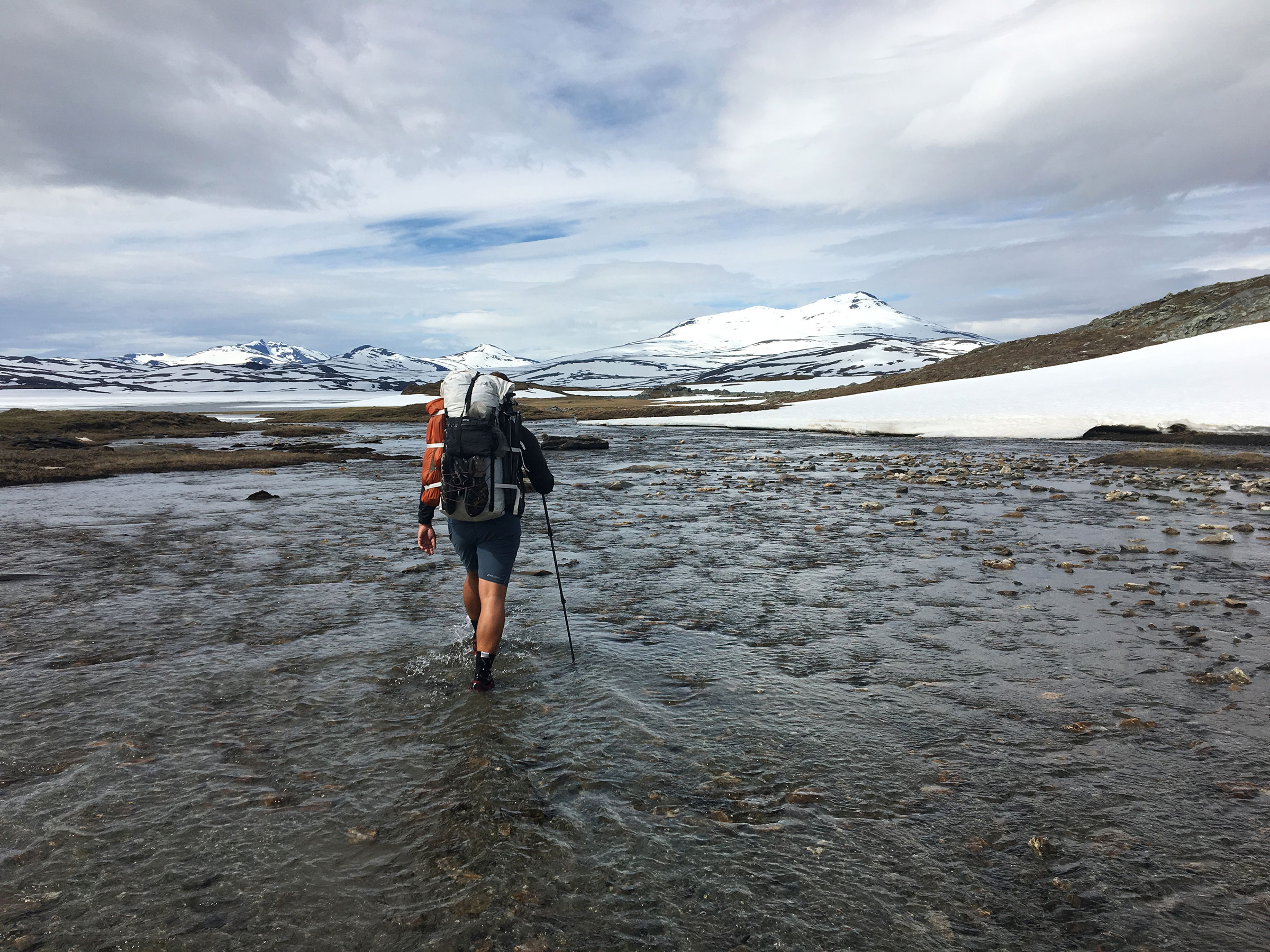 Crossing a stream in Padjelanta National Park on a hike a couple of years ago.
