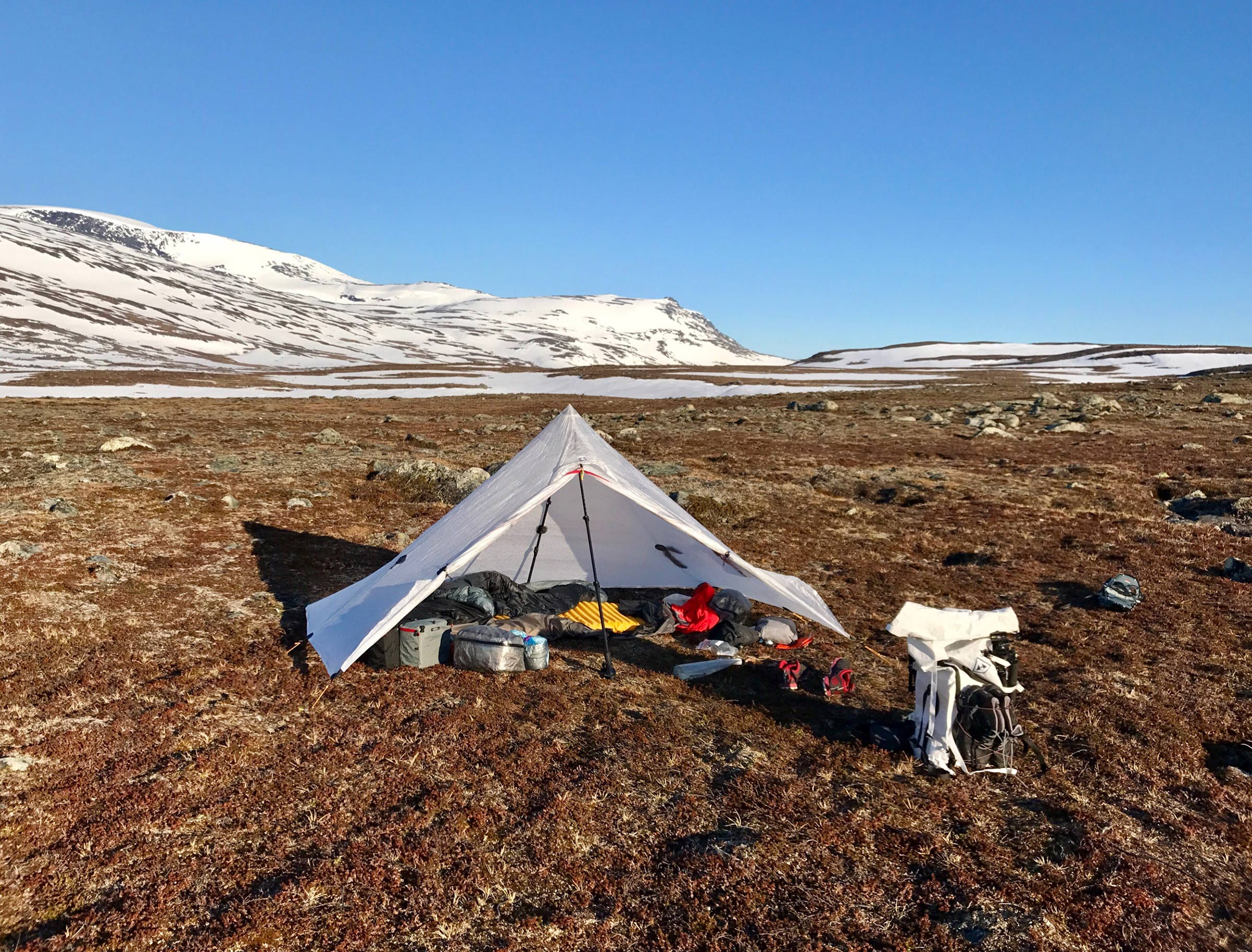 Gear, gear and gear in Stora Sjöfallets National Park. Locus Gear Khufu is a wonderful shelter for the solo adventure.