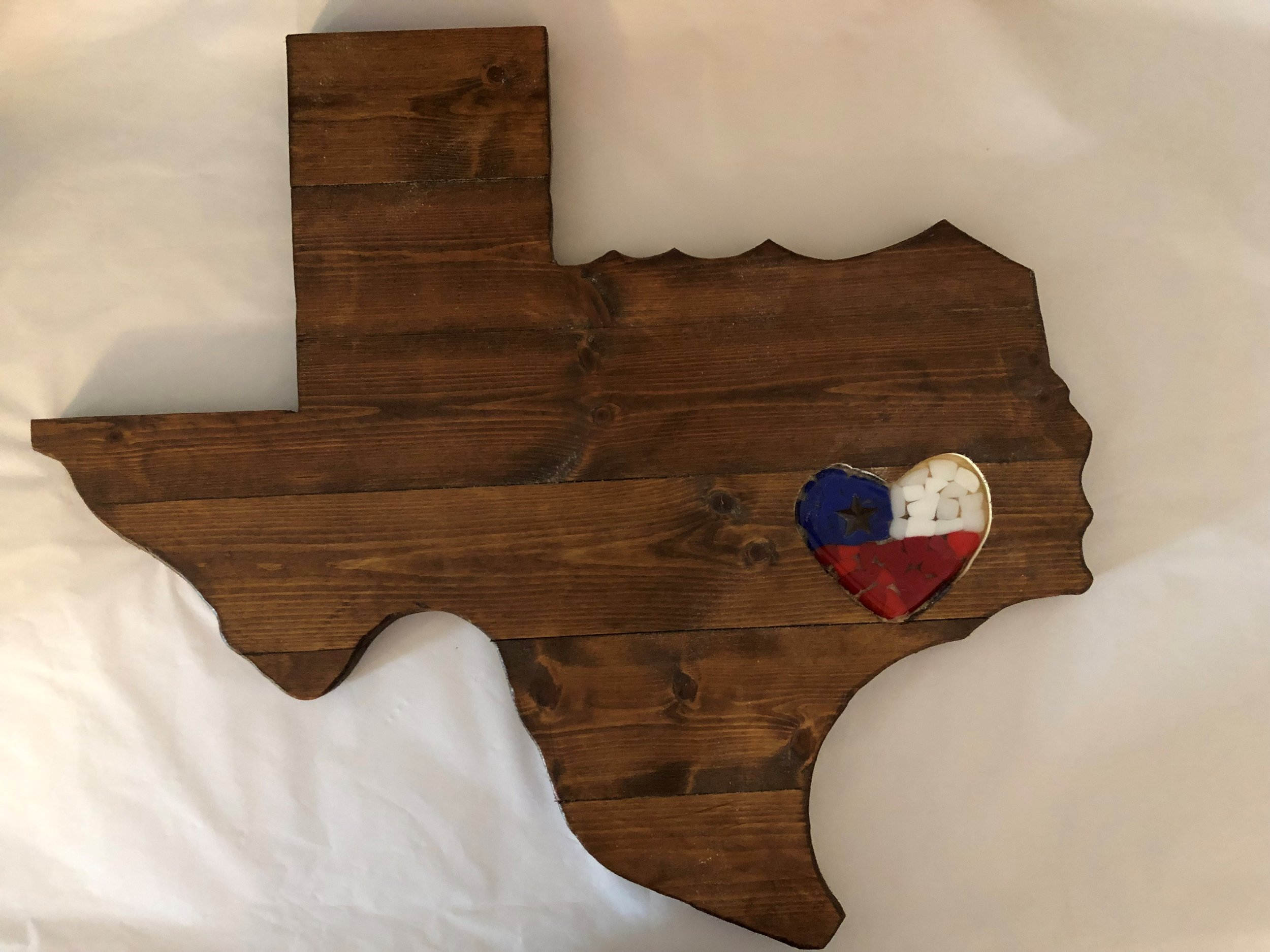 Wood Texas w Lone Star Heart inset