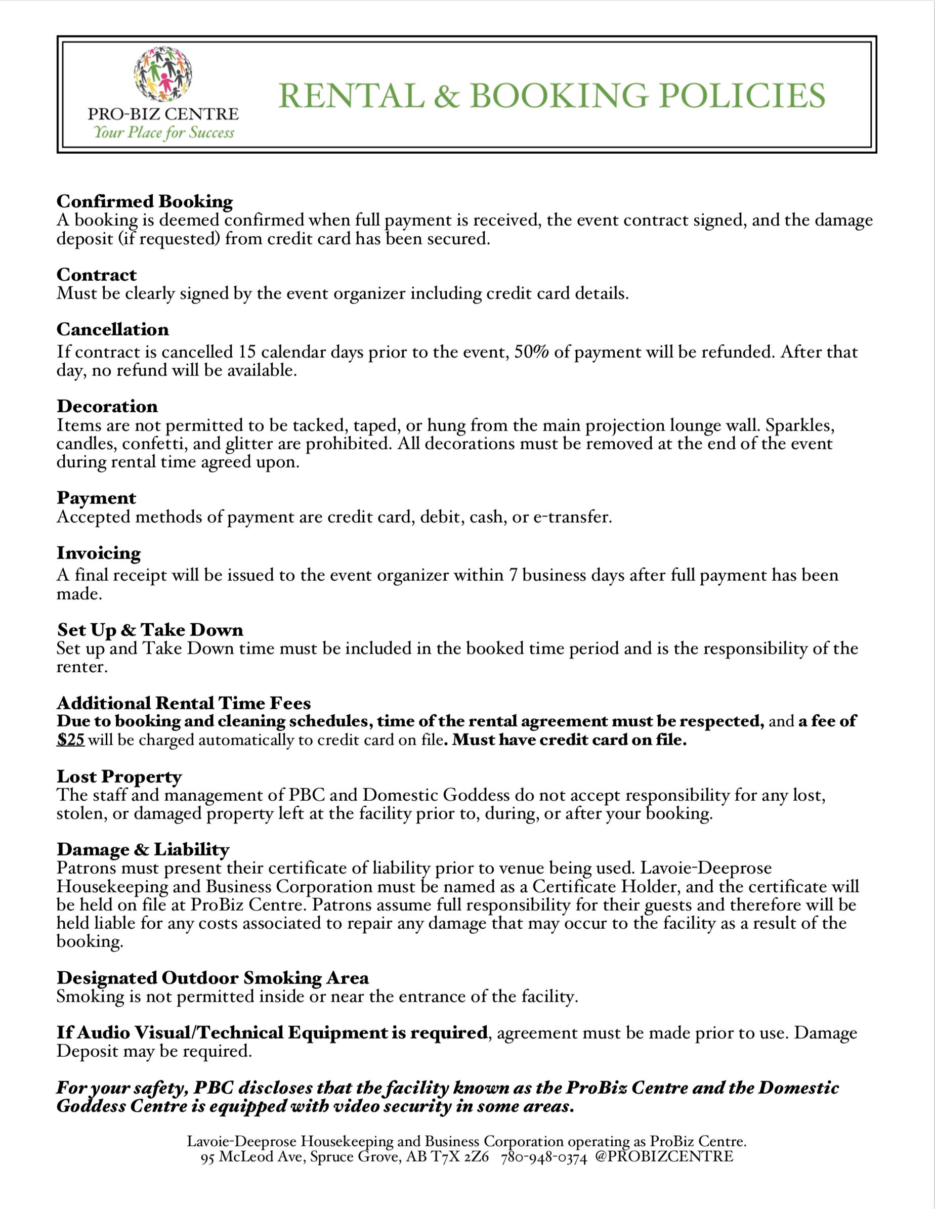 Rental & Booking Policies -