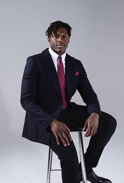 Maro Itoje - 6 foot 5 England and Saracens Rubgy star Maro Itoje spotted in our Hastings Navy Double Breasted Blazer and Milton Tailored Trousers