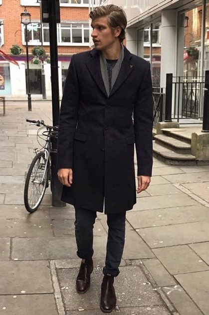 Toby Huntington Whiteley - 6 foot 4 Model Toby Huntington Whiteley spotted in our Templar Navy Coat