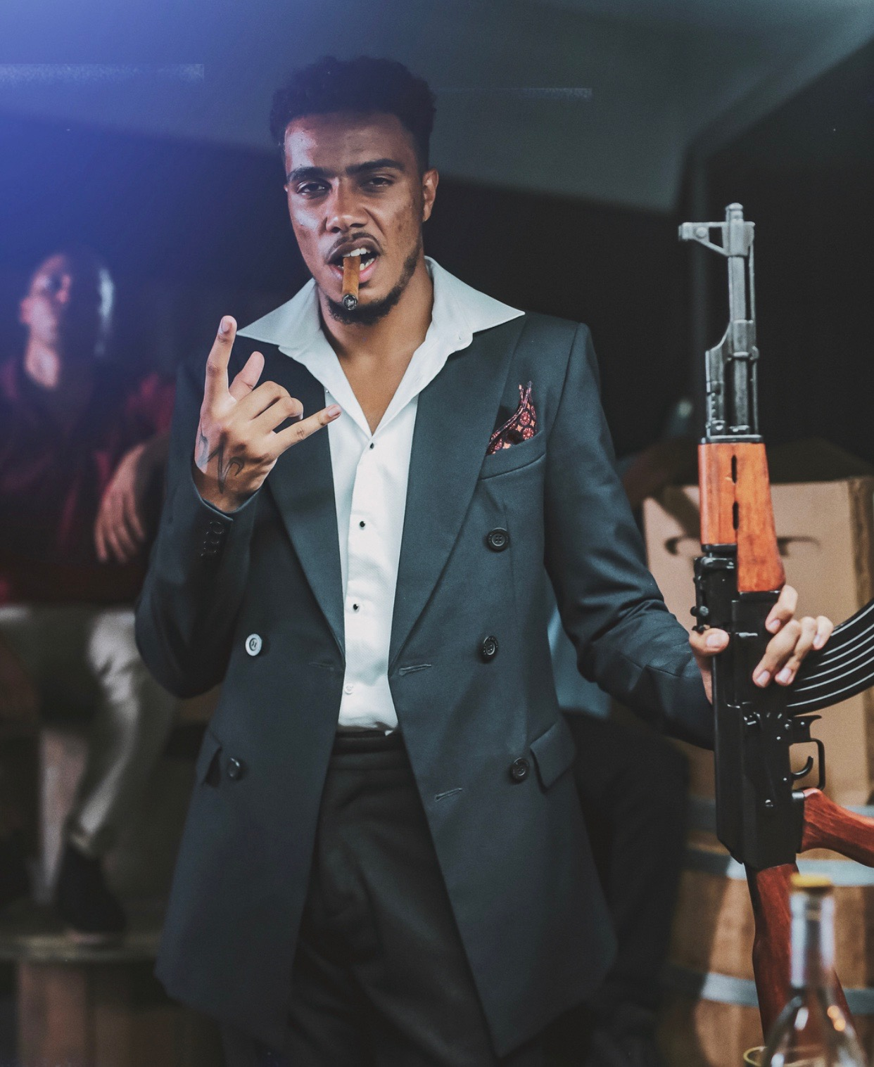 AJ Tracey - UK Rapper AJ Tracey spotted in our Hastings Navy Double Breasted Blazer and Milton Tailored Trousers
