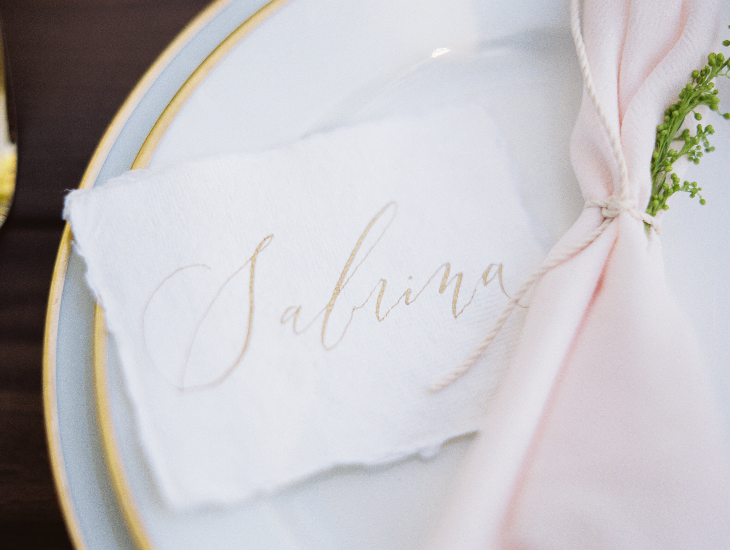 Individual Place Cards for wedding tablescape by Sarah Pearl Studio