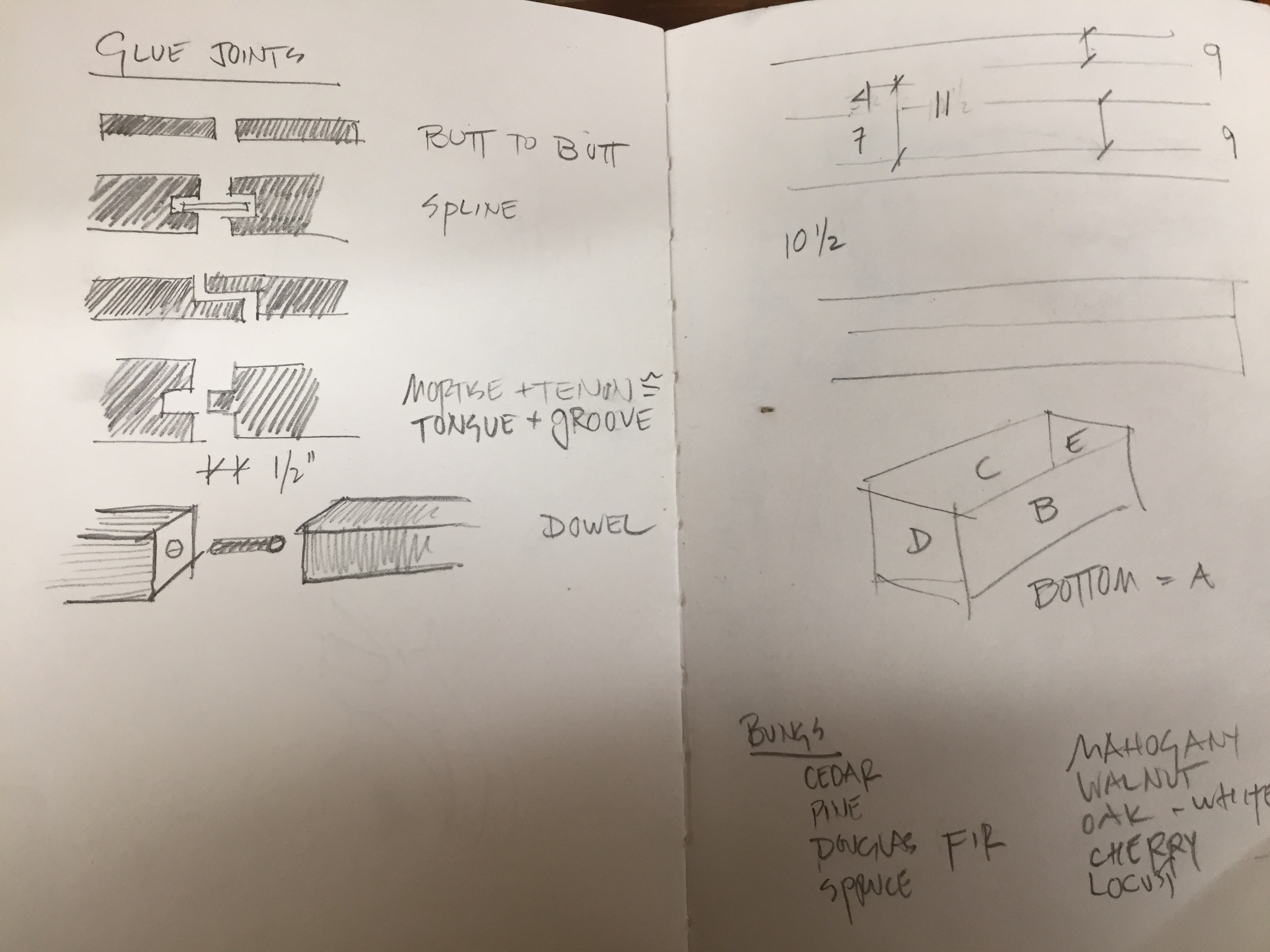 Sketches of different types of glue joints in preparation for building her toolbox