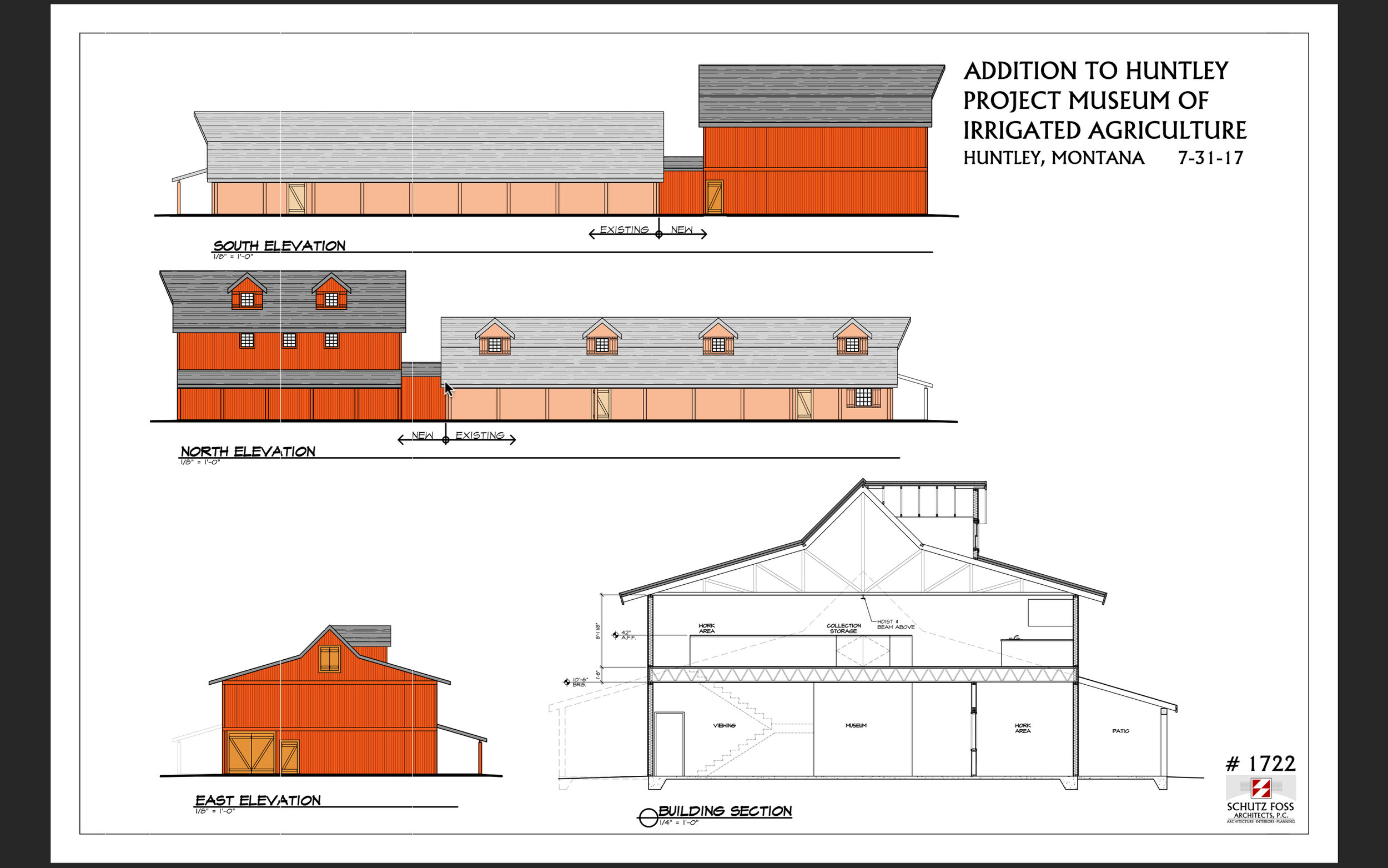 Architectural rendering of the two-story building addition shown at the east end of our current museum building.