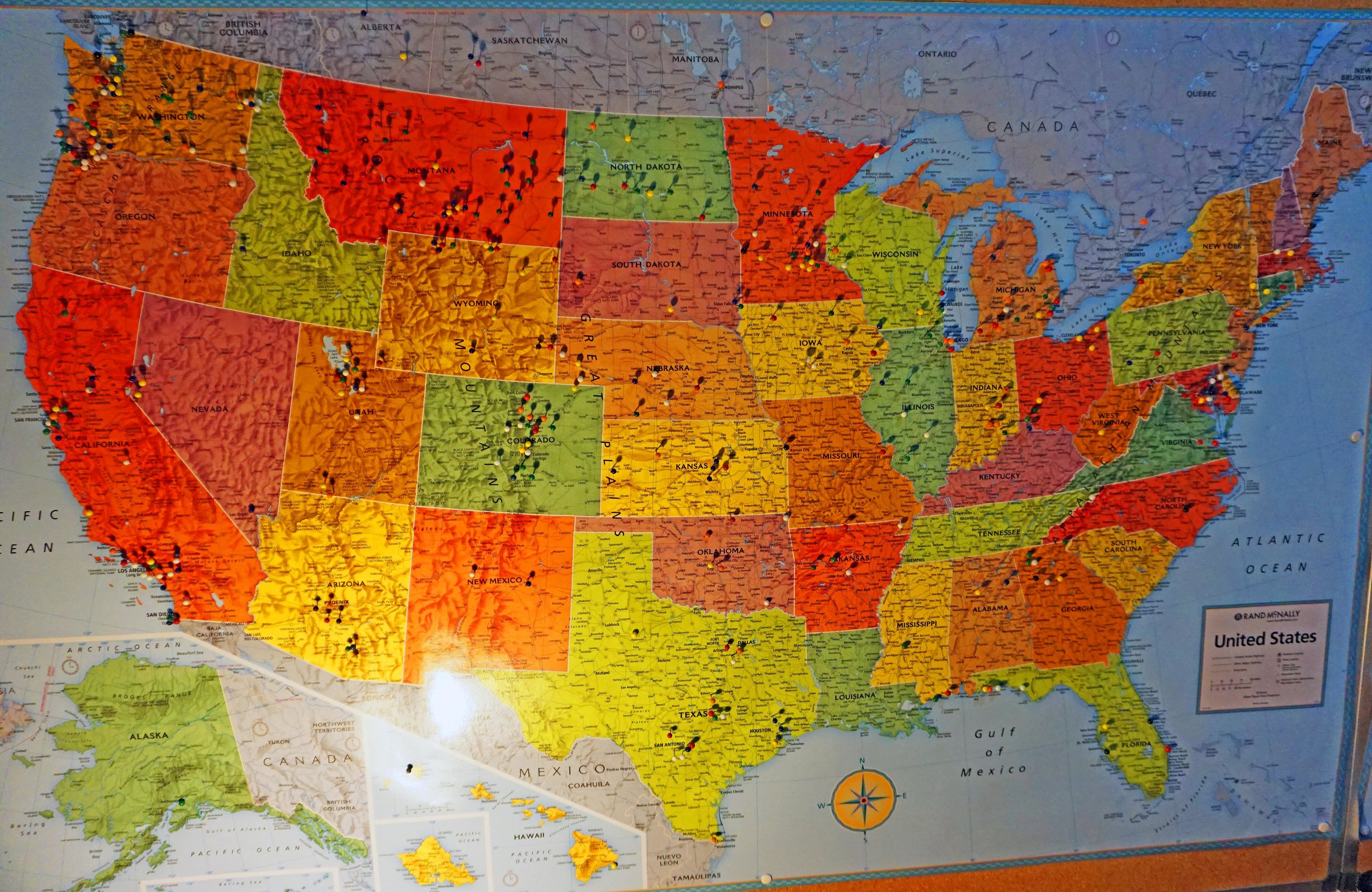 Tourists place pins on our Museum map showing where they're visiting from. Most of our visitors come from within the contiguous United States. We also have visitors from Alaska, Hawaii, Canada, Europe and Australia.