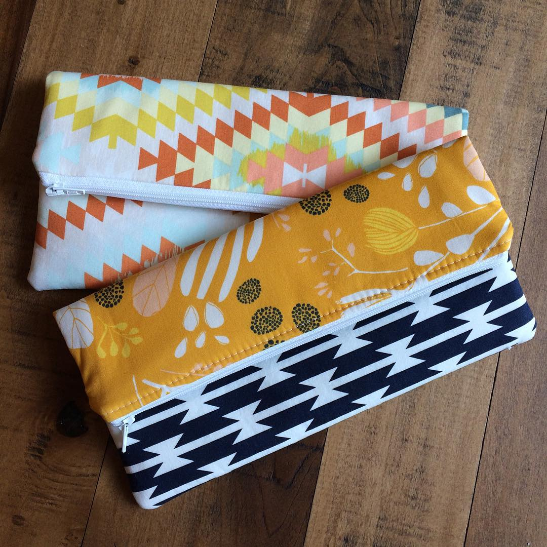 Southwest Foldover Zip Clutches