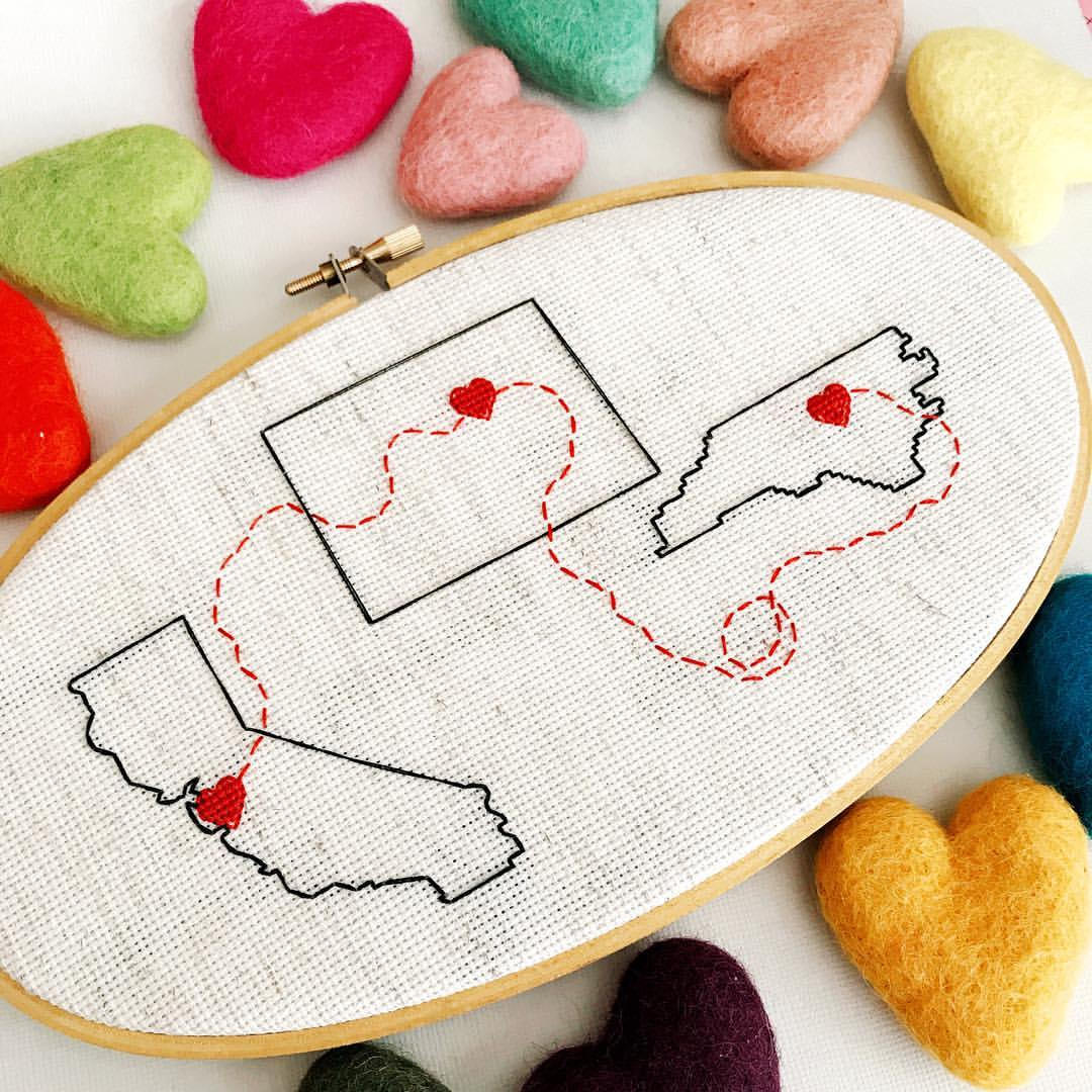 Cross Stitch - Cloth & Twig creates the most amazing custom cross stitch gifts we've ever seen.Whether you're looking for a custom wedding portrait or a way to display all the places you've called 'home', you'll find something special at Cloth & Twig.