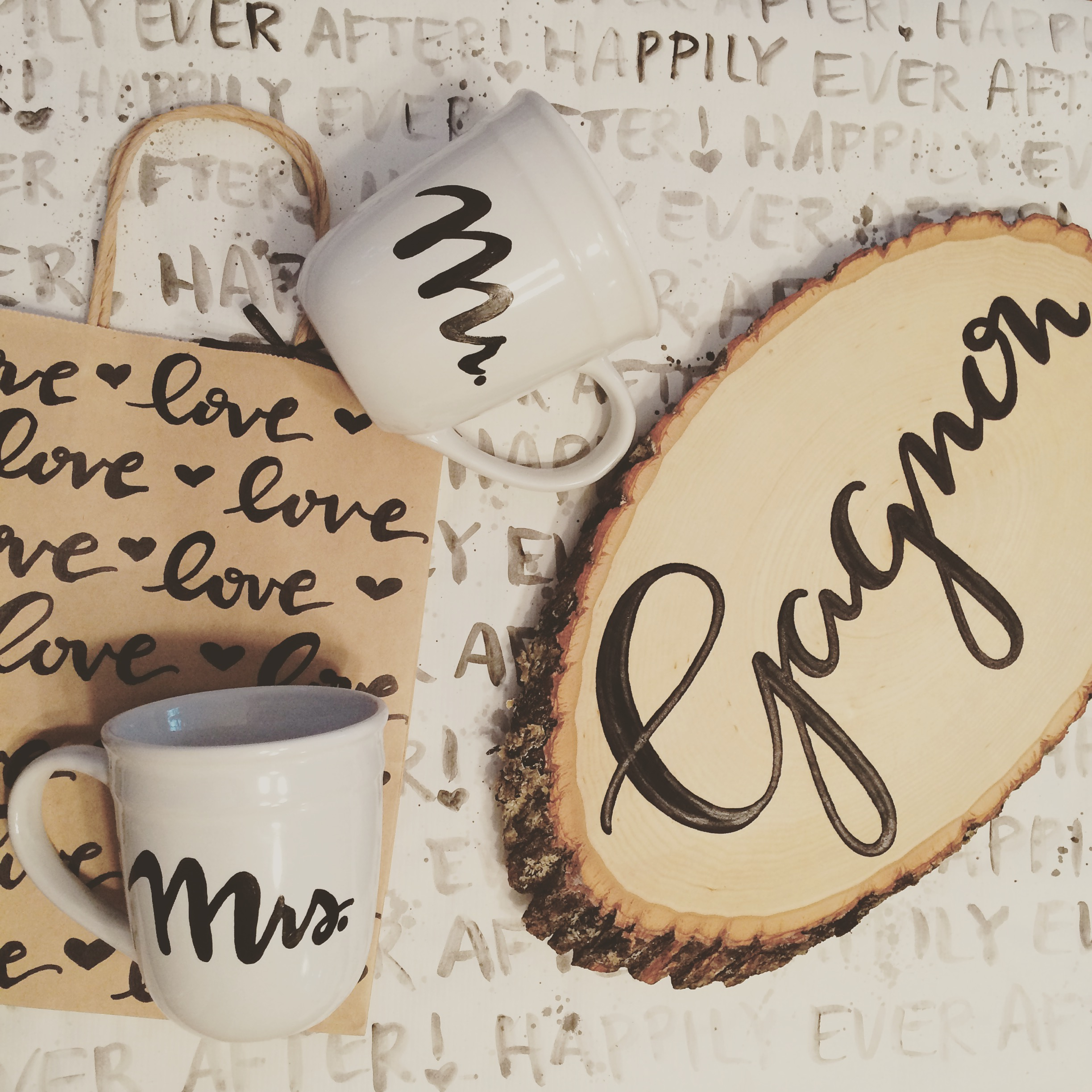 Wooden Signs - Custom hand lettered name signs by Raleigh Calligraphy & Design. Now that you're officially Mr. and Mrs., you can take advantage of these rustic wooden signs to show off your family name and decorate your newlywed nest.