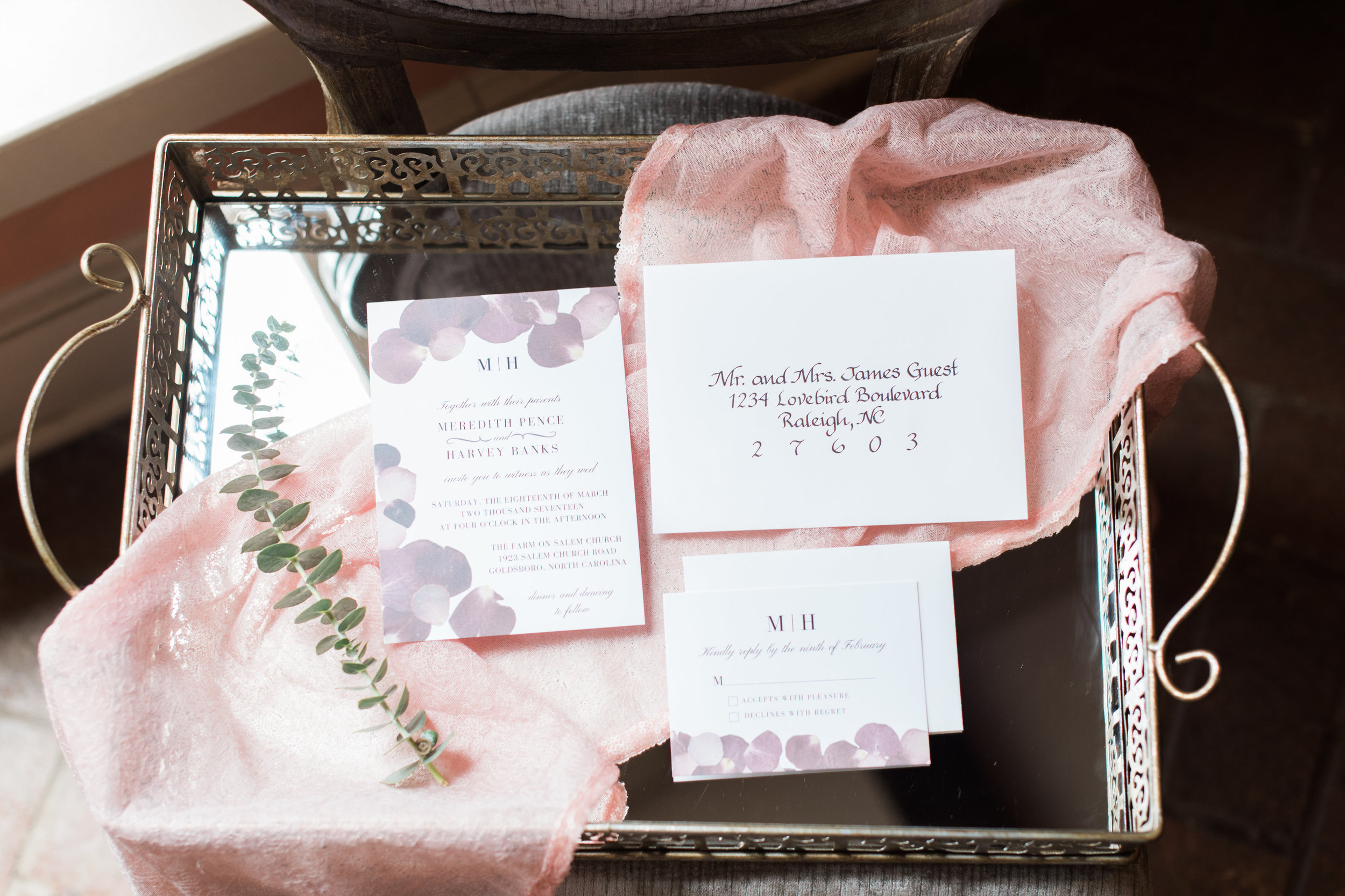 The Farm at Salem Church Burgundy Invitation Suite by Raleigh Calligraphy & Design
